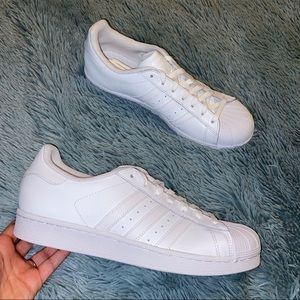 New Women's Adidas All White Superstar Sneakers